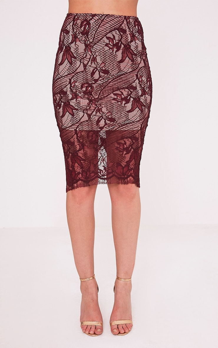 Leela Burgundy Lace Midi Skirt 2
