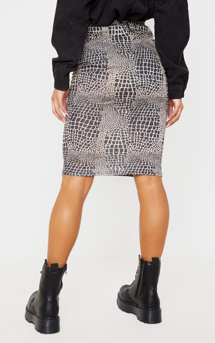 Stone Croc Print Ruched Side Midi Skirt 4