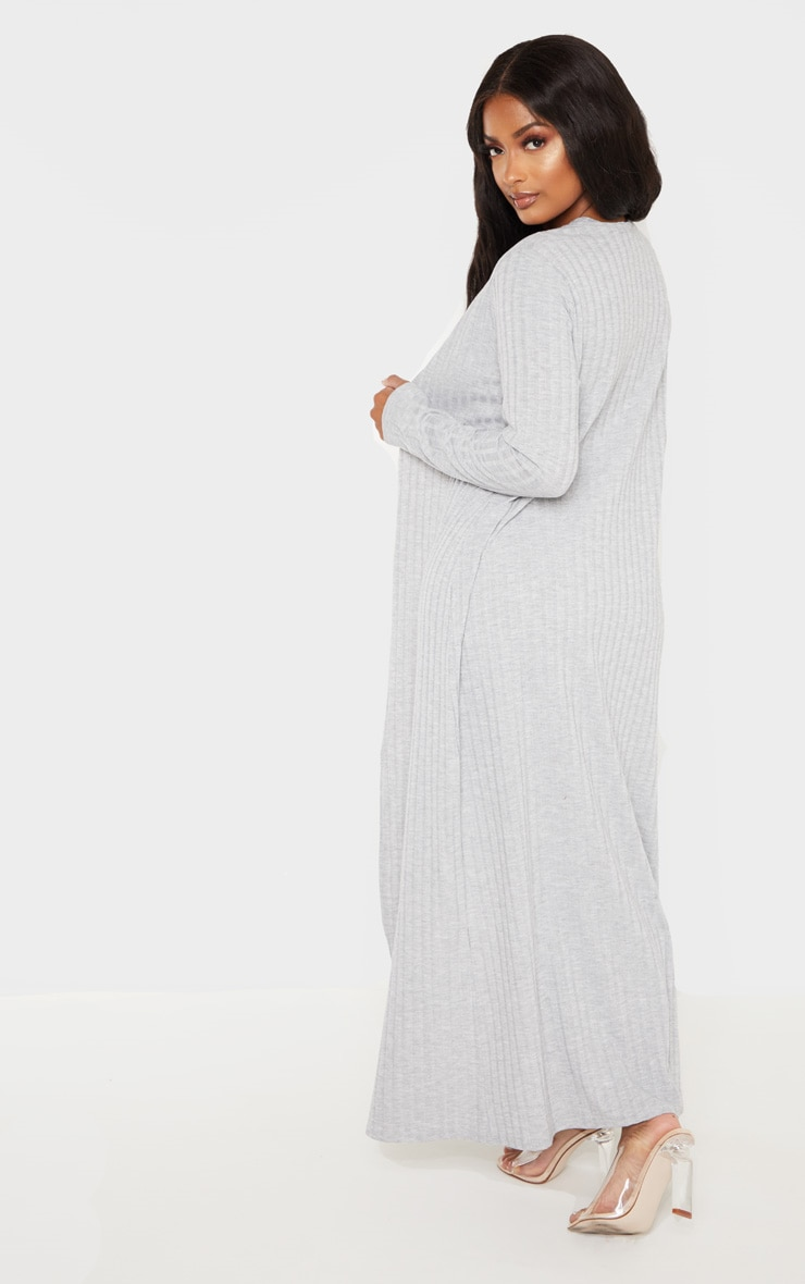 Shape Grey Wide Rib Maxi Cardigan 2
