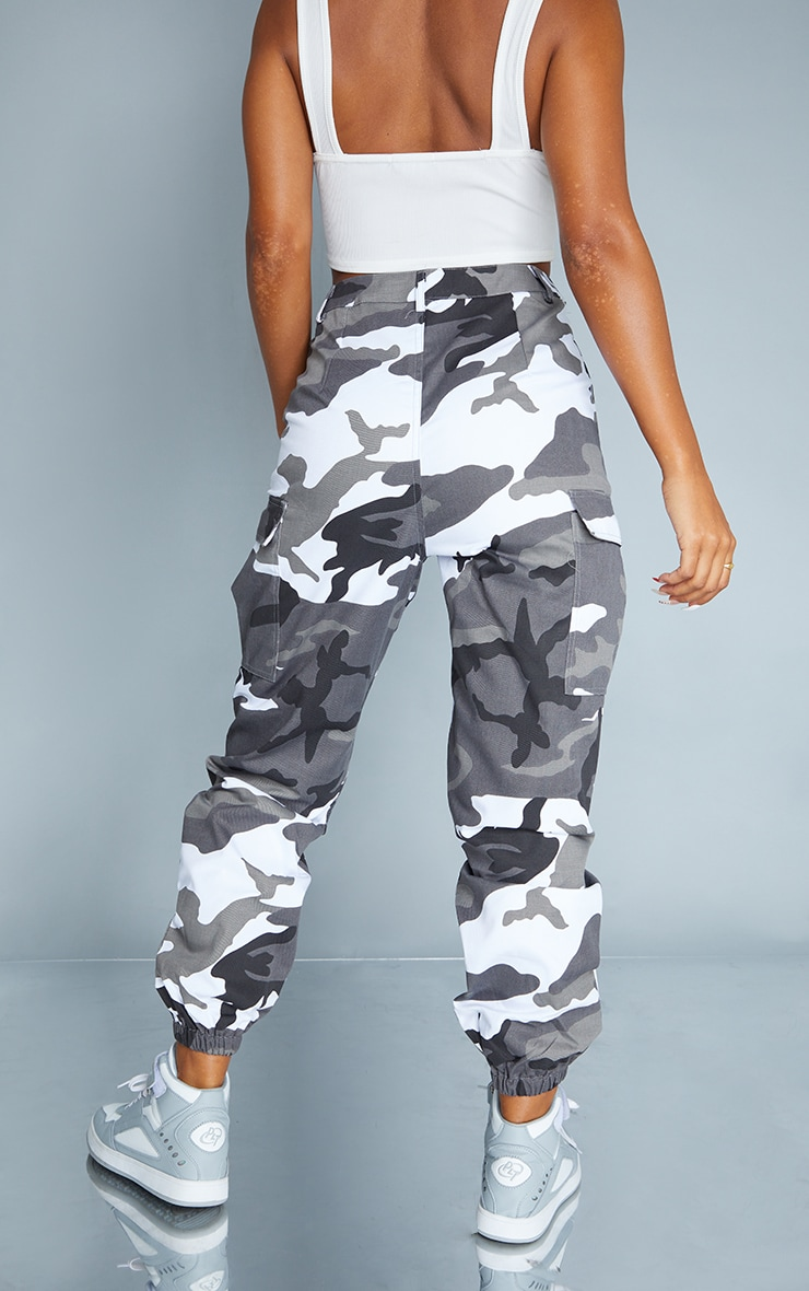 Grey Camo Print Cargo Trousers 3