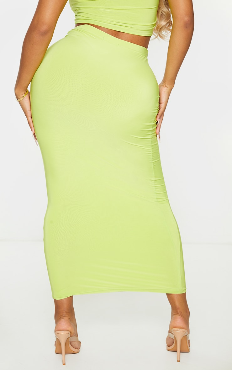 Shape Lime Slinky Ruched Front Midaxi Skirt 3