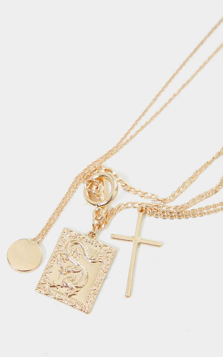 Gold T Bar Statement Pendant Layering Necklace 4