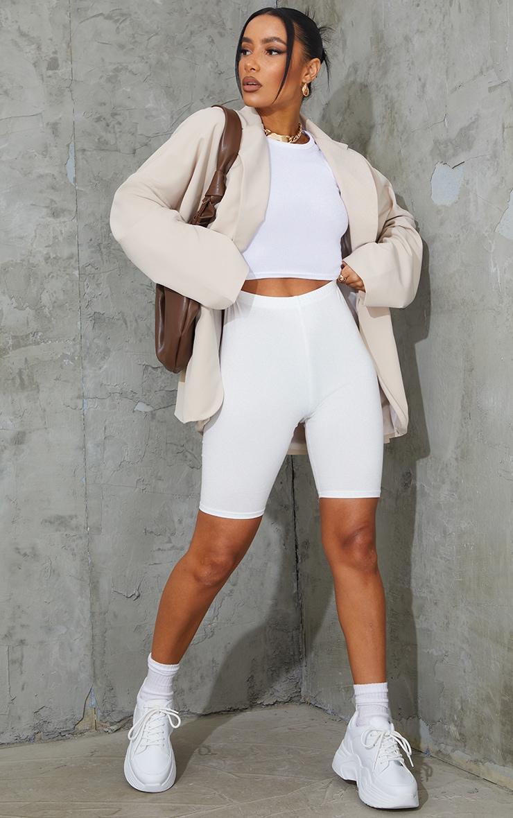 Cream Cotton Stretch Bike Shorts  4