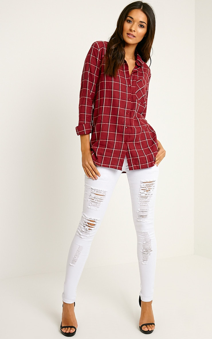 Mariel Wine Checked Shirt 3
