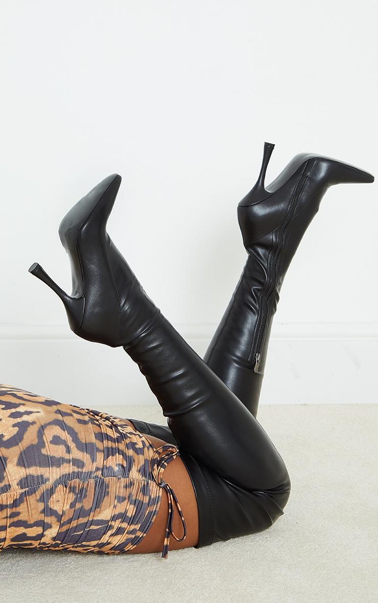 Black Skinny Flare High Heel Thigh High Sock Boots 1