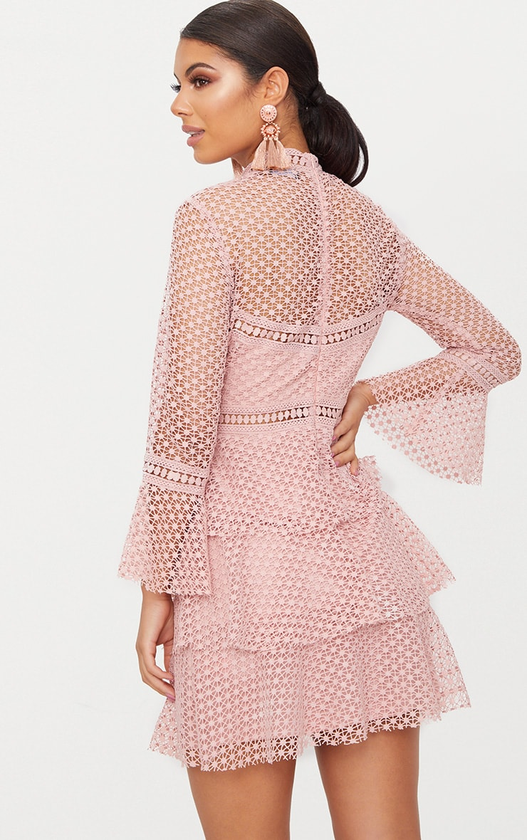 Dusty Pink Flare Sleeve Lace Tiered Mini Dress  2