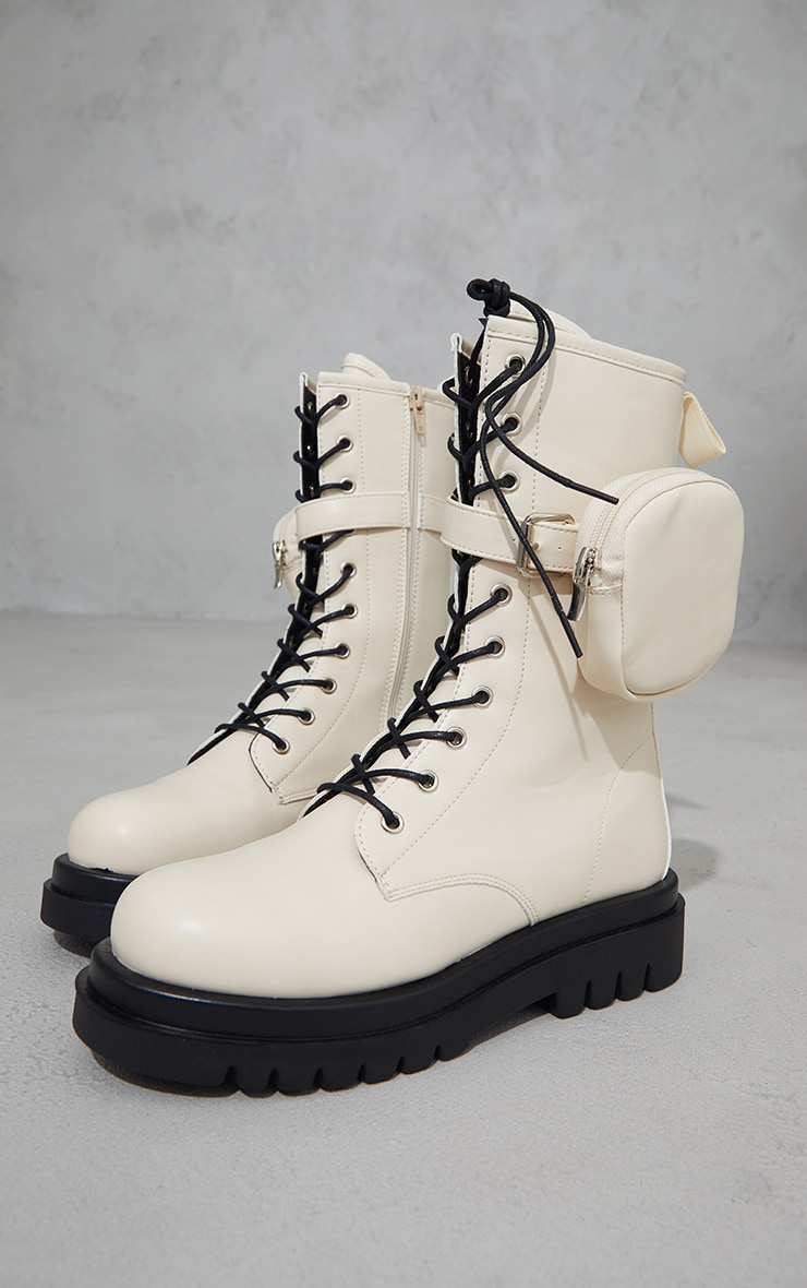 Beige PU Pocket Side Lace Up Biker Boots 4