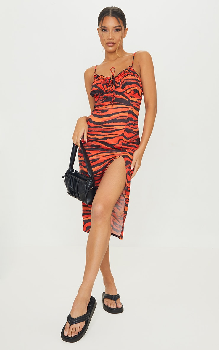 Orange Zebra Print Strapy Split Detail Midi Dress