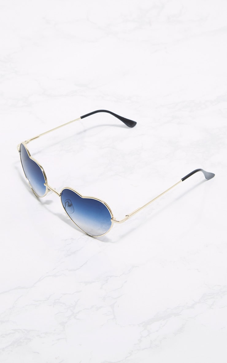 Blue Metal Heart Sunglasses 3