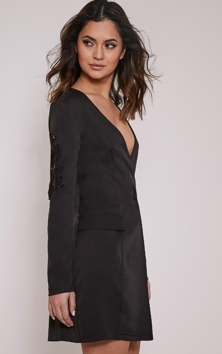 Sabella Black Applique Detail Blazer Dress 5