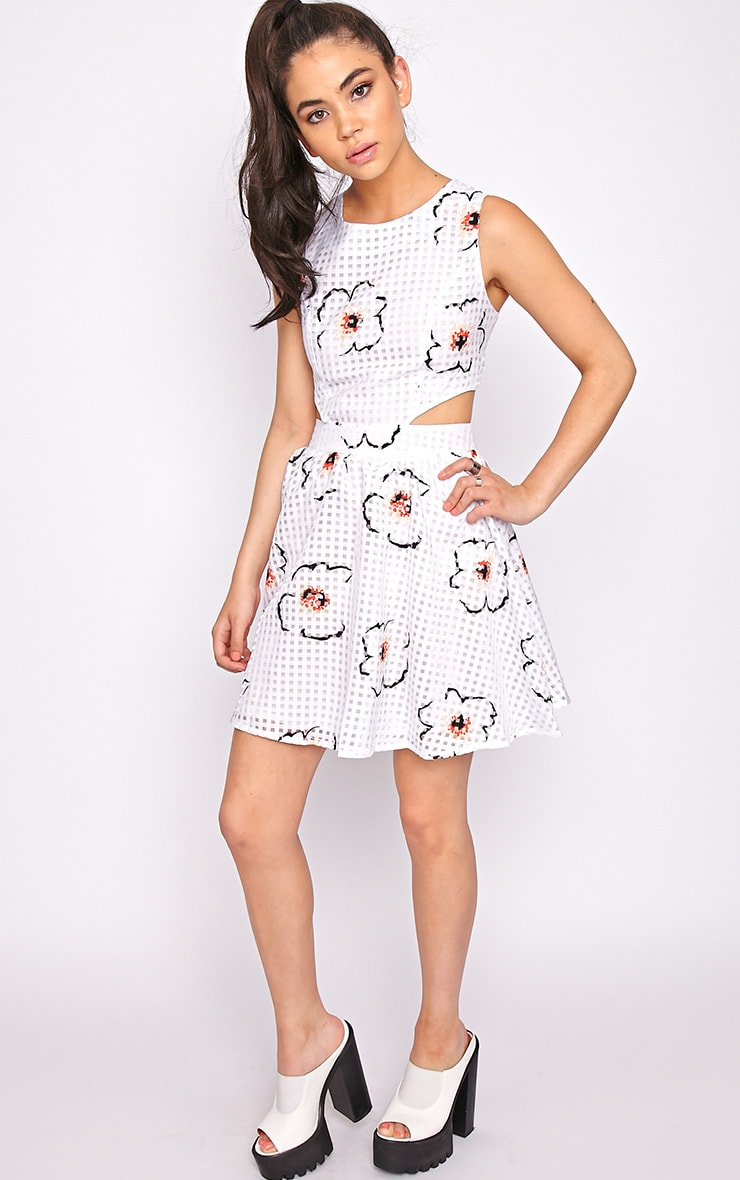 Kyra White Check Floral Cut Out Skater Dress 4
