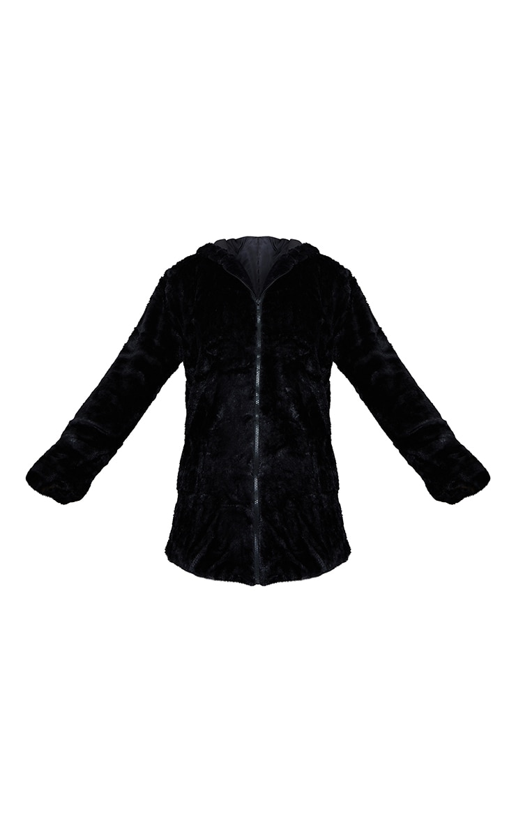 Black Hooded Faux Fur Midi Coat 5