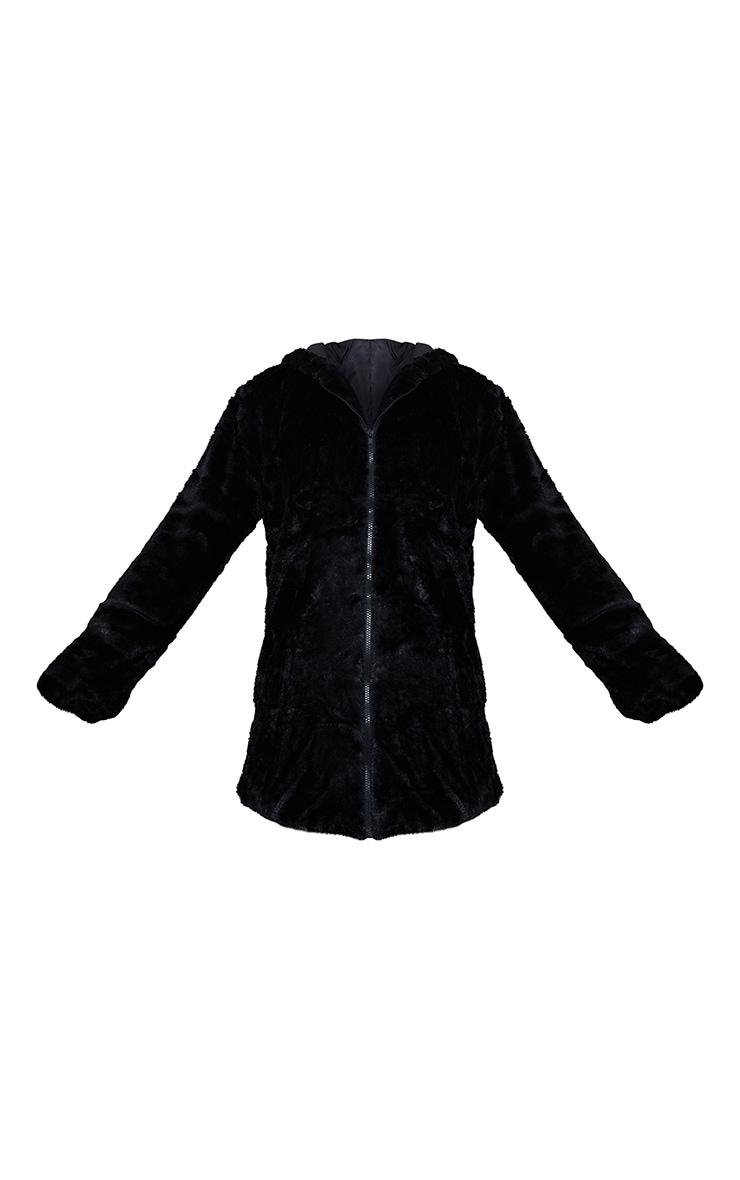 Manteau mi-long noir en fausse fourrure à capuche 5
