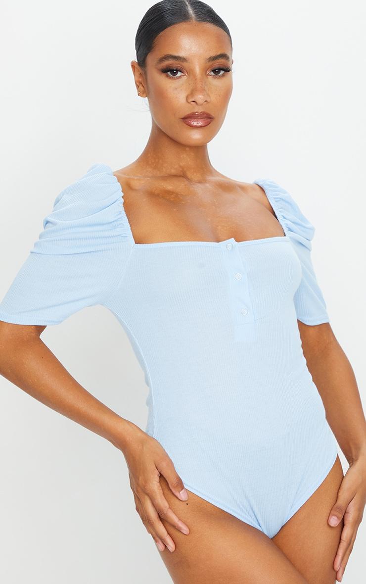 Baby Blue Rib Puff Short Sleeve Bodysuit 2