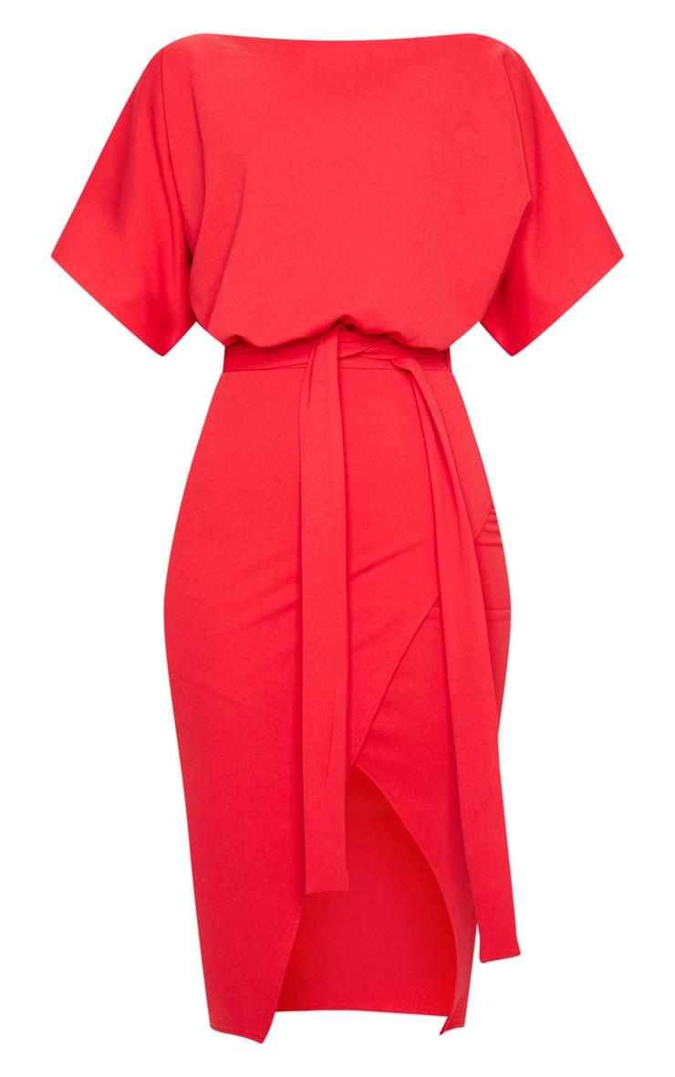 Wrap Front Red Kimono Sleeve Midi Dress 5