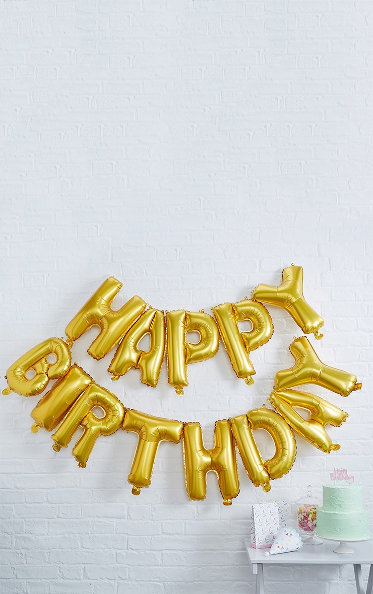 Ginger Ray Gold Happy Birthday Balloon Bunting 1