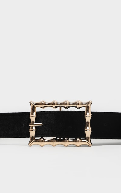 Black Velvet Bamboo Buckle Belt