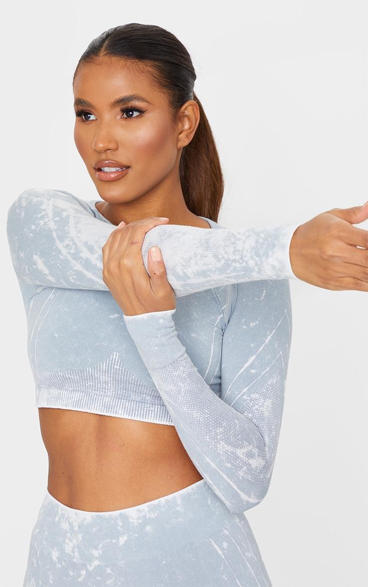 Grey Acid Wash Seamless Rib Detail Long Sleeve Gym Top 1