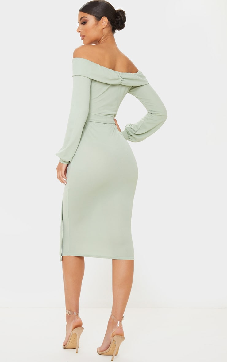 Sage Khaki Long Sleeve Wrap Bardot Midi Dress 2
