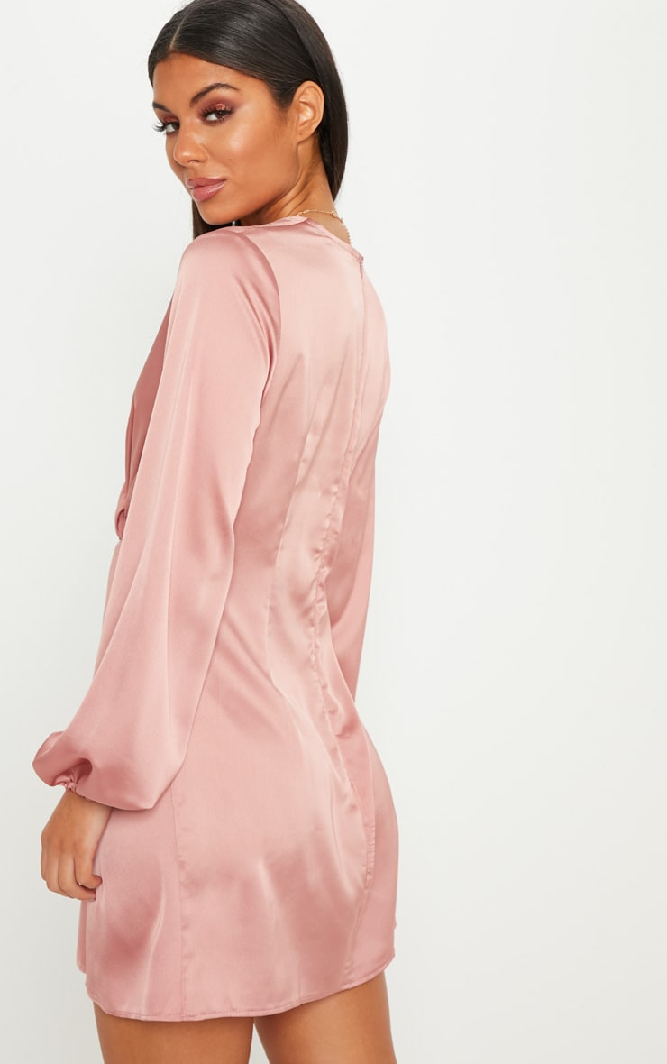 Rose Satin Knot Detail Plunge Shift Dress 2