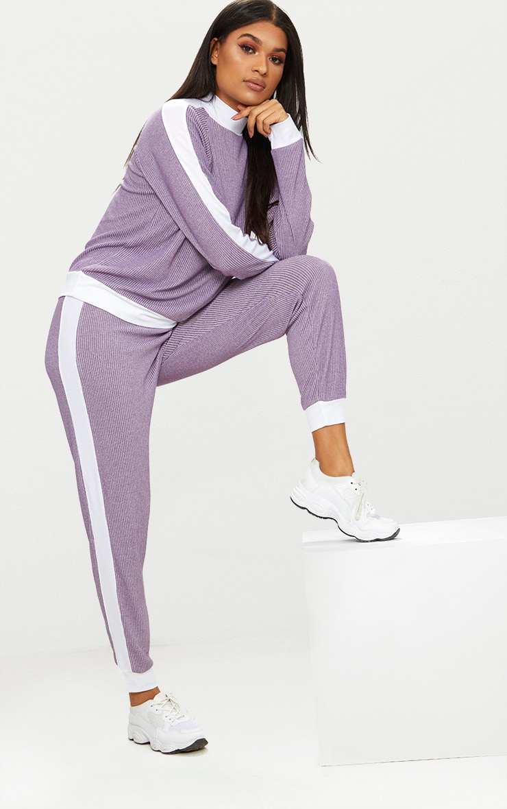 Lilac Soft Rib Joggers 1