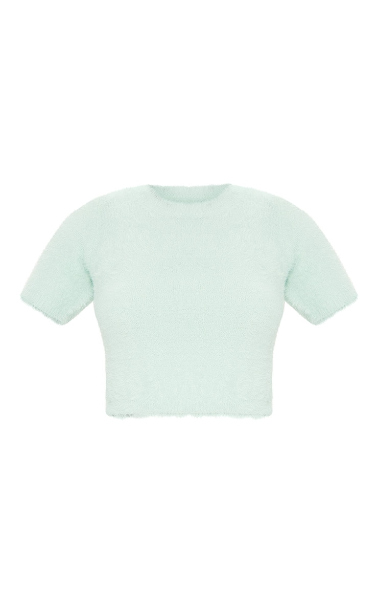 Sage Green Knitted Fluffy Short Sleeve Tee 5