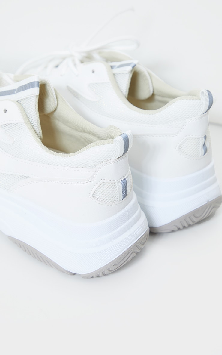 White Contrast Mesh Layered Sole Trainers 3