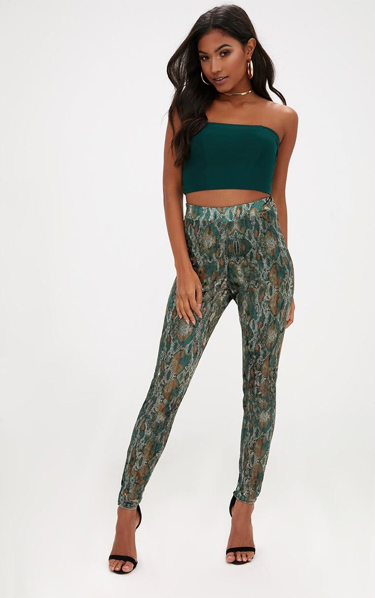 Green Velvet Snake Print Skinny Trousers 1