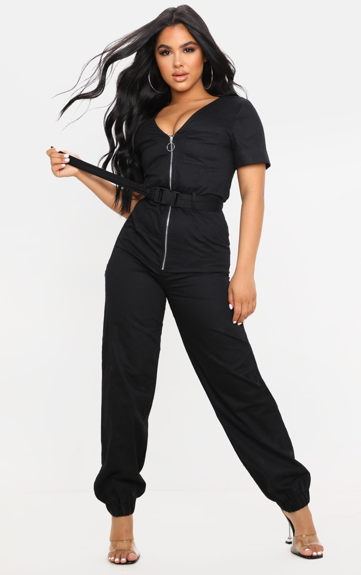 Petite Black Cargo Zip Up Jumpsuit by Prettylittlething