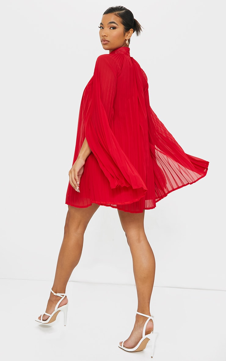 Red Pleated Cape High Neck Shift Dress 2