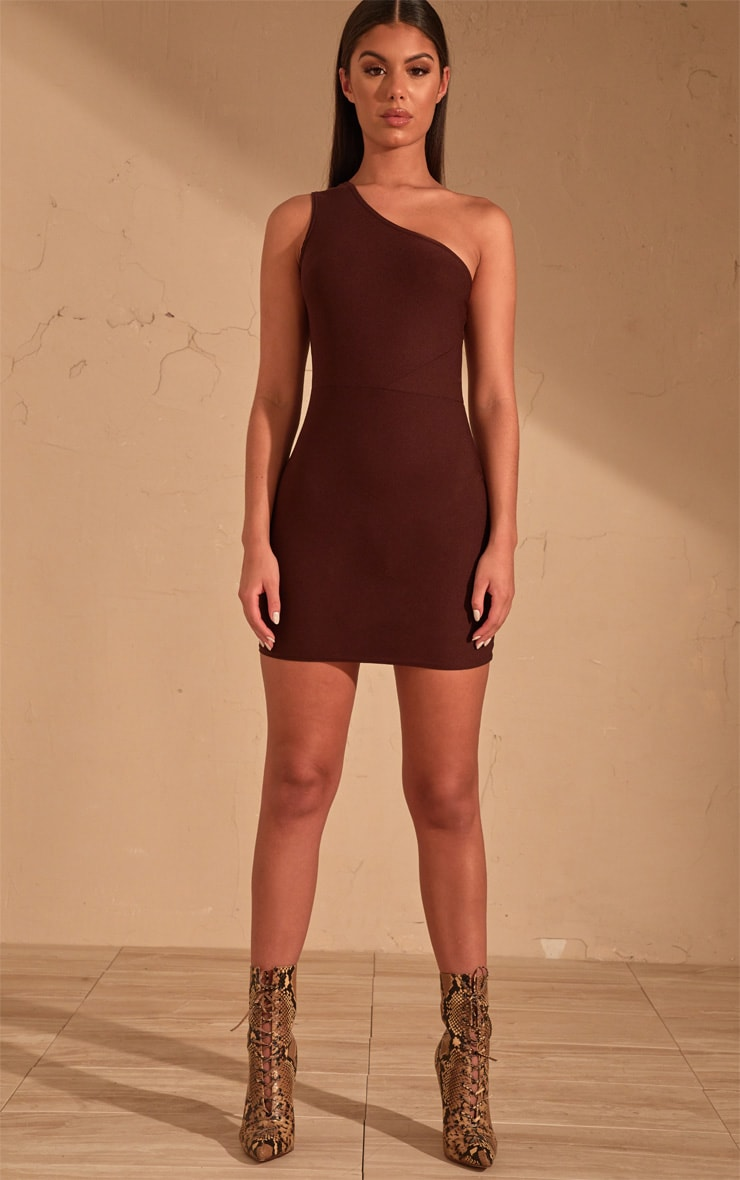 Chocolate Brown One Shoulder Bodycon Dress  4