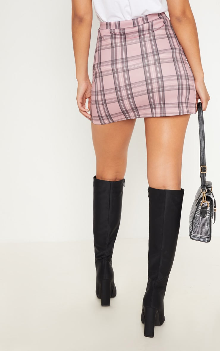 Pink Check Button Skirt  4
