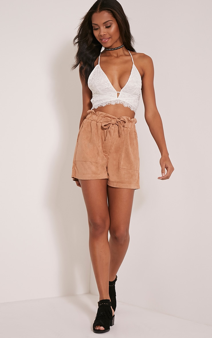 Trudy Tan Faux Suede Shorts 1