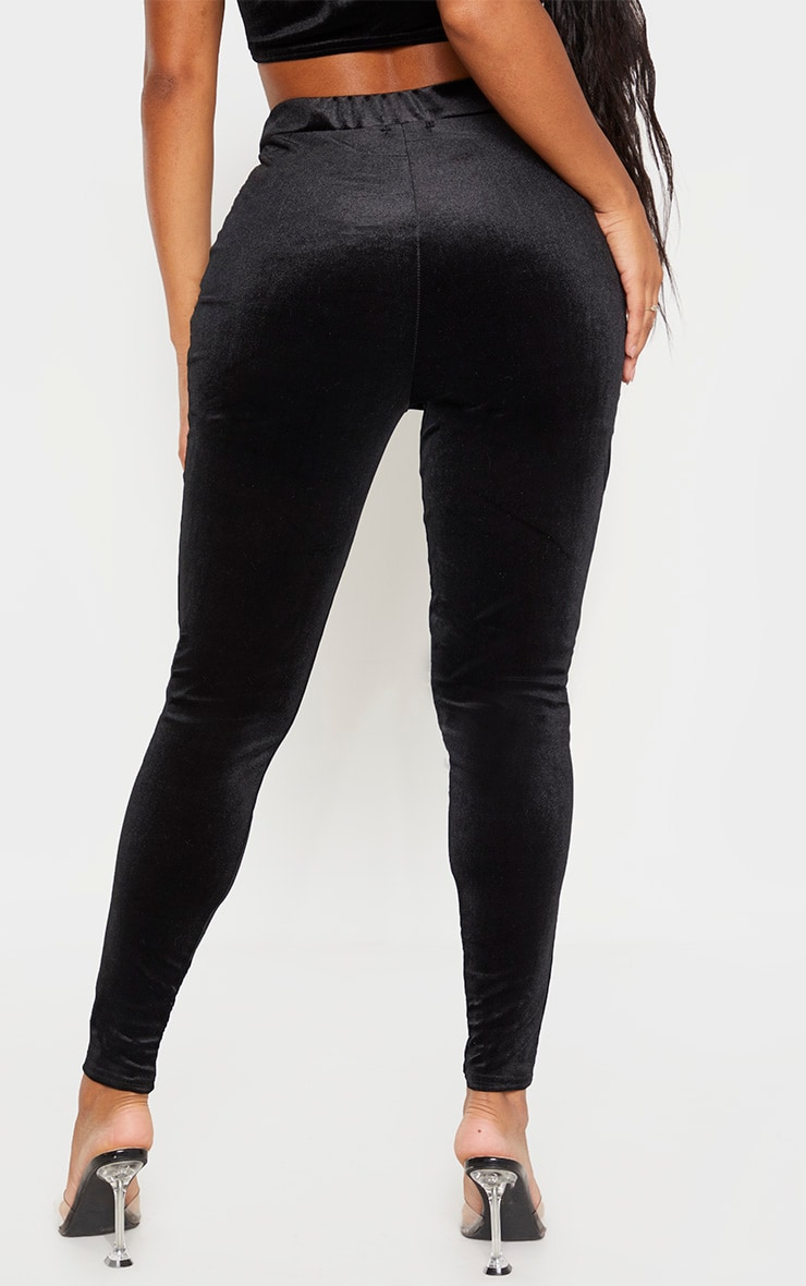 Shape Black Velvet High Waisted Trouser 4