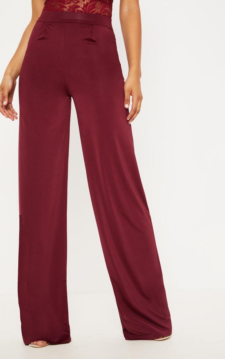 Tall Burgundy Slinky Wide Leg Pants 2