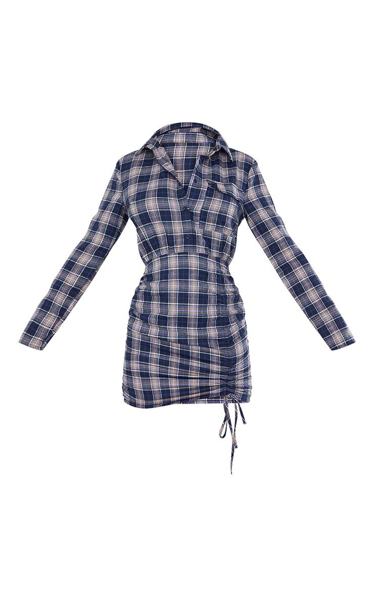 Navy Check Ruched Skirt Button Up Shirt Dress 5