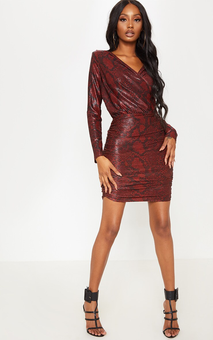 Burgundy Glitter Snake Print Ruched Shoulder Pad Bodycon Dress 3