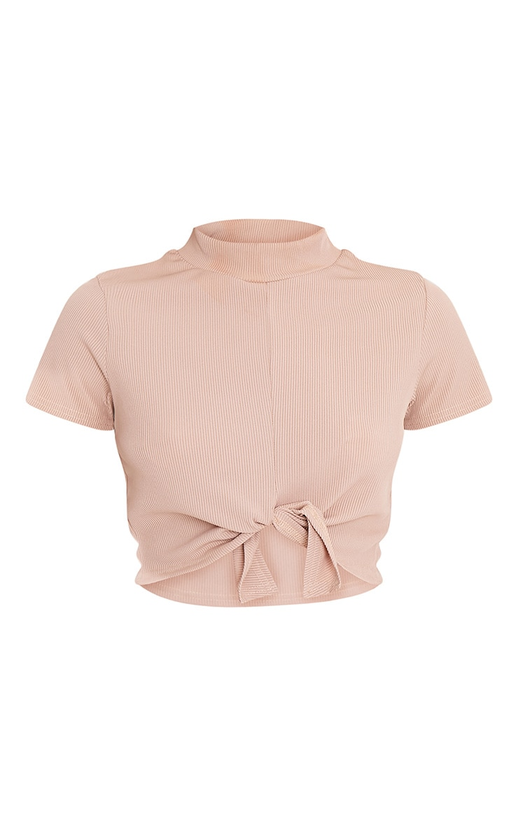 Maycie Stone Knot Front Crop T Shirt 3