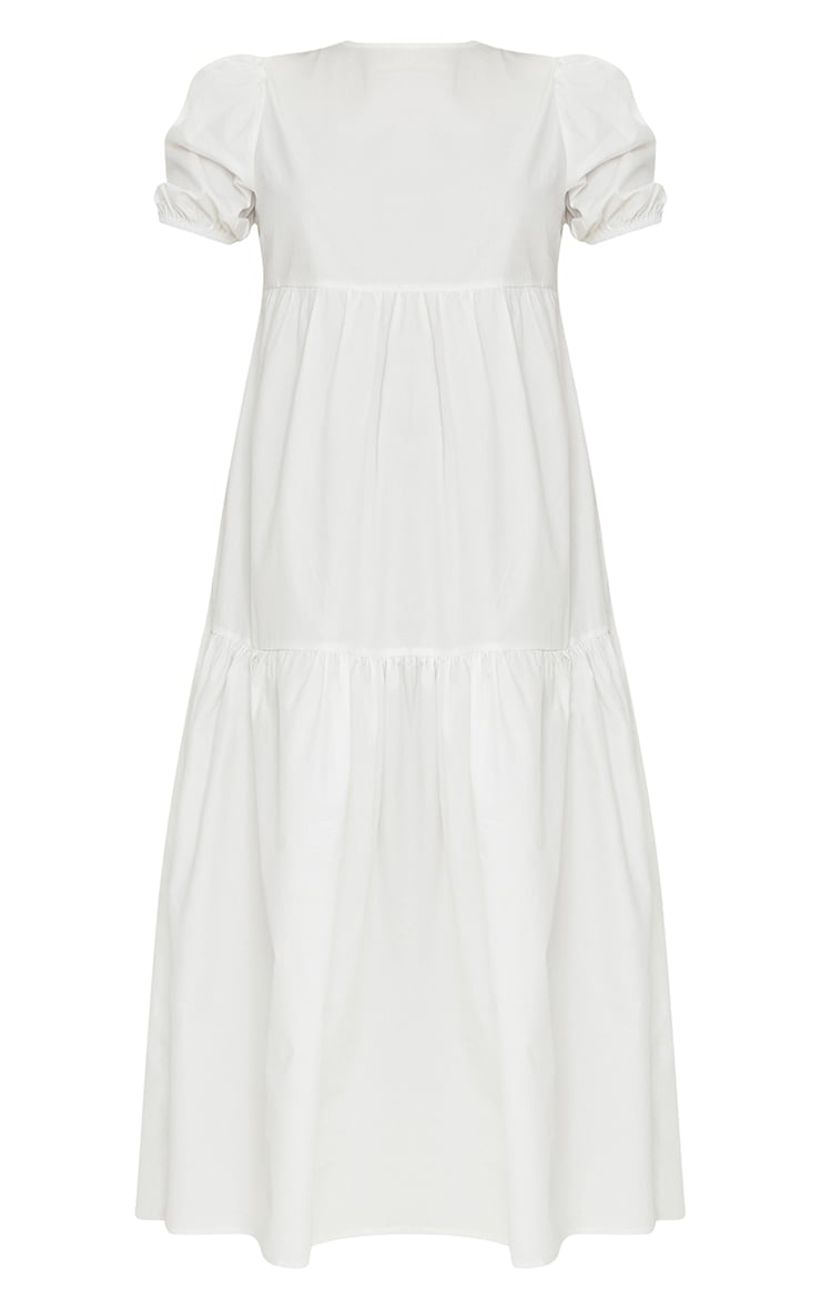 White Cotton Tiered Drop Hem Short Sleeve Midi Smock Dress 5