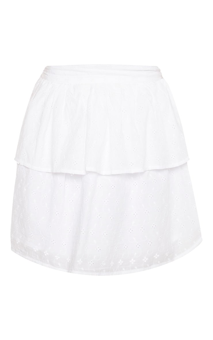 Petite White Frill Tiered Broderie Anglaise Skirt 3