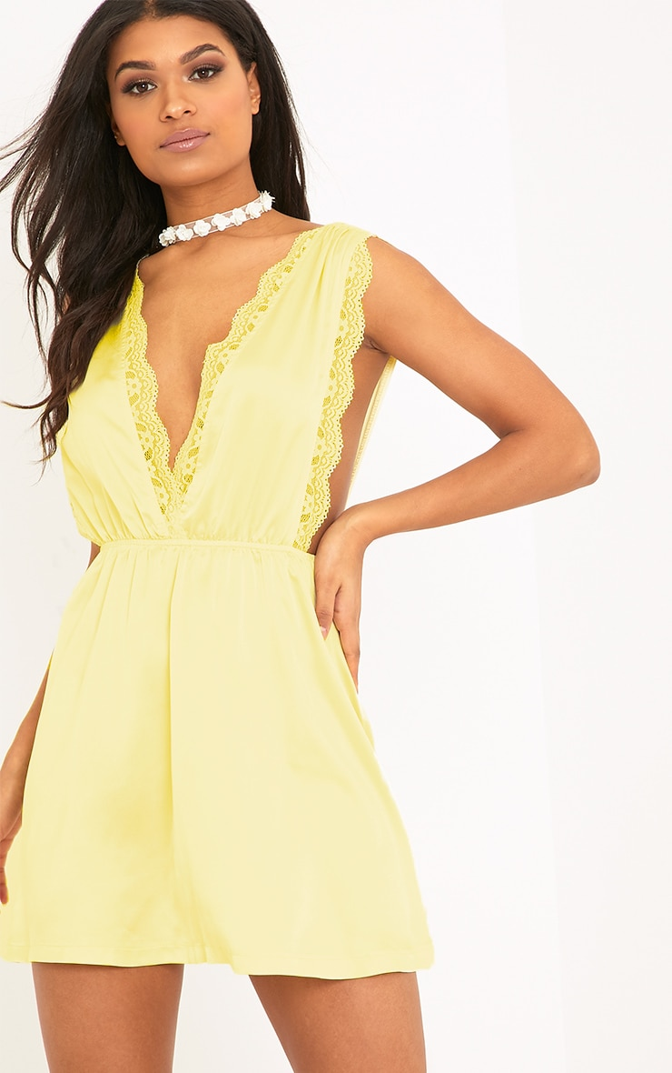 Tatiana Lemon Satin Lace Trim Plunge Swing Dress  1