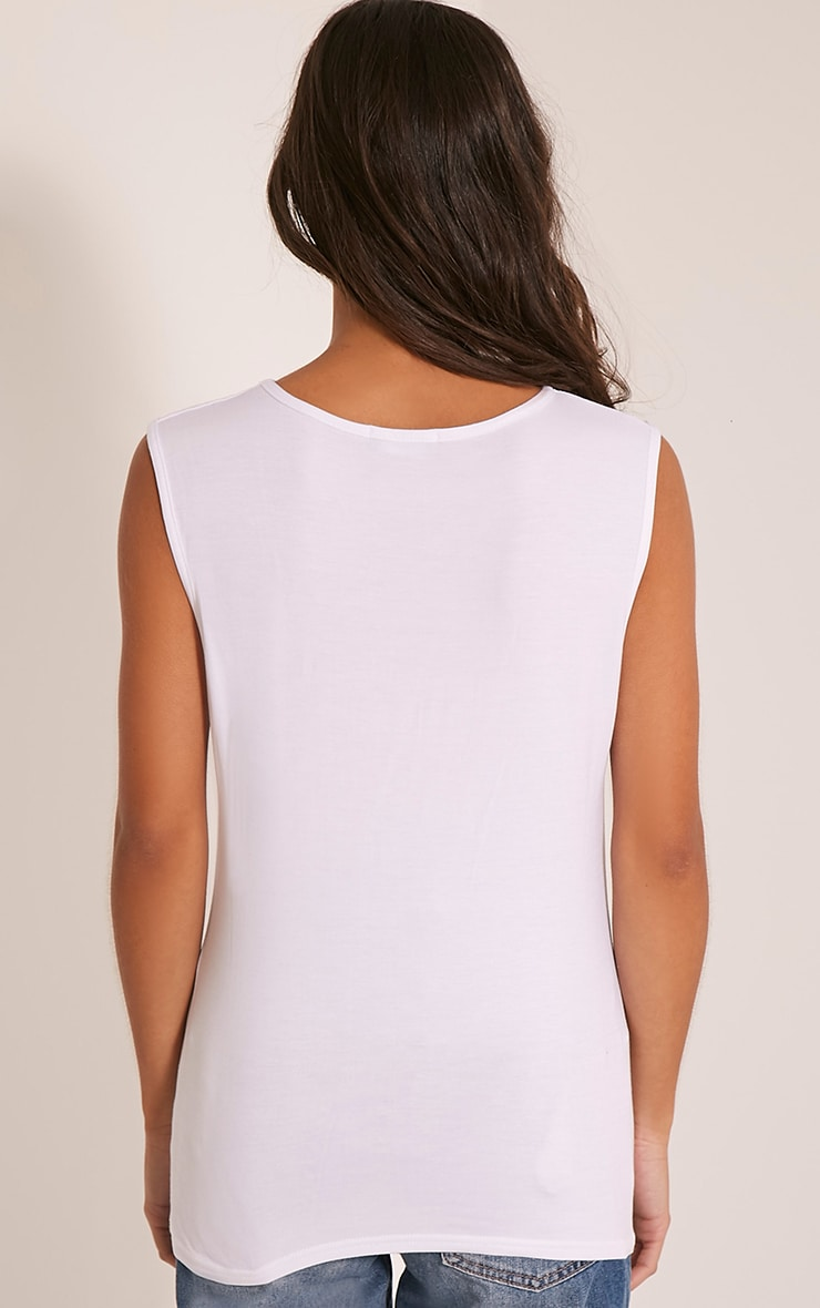 Basic White Round Neck Vest 2