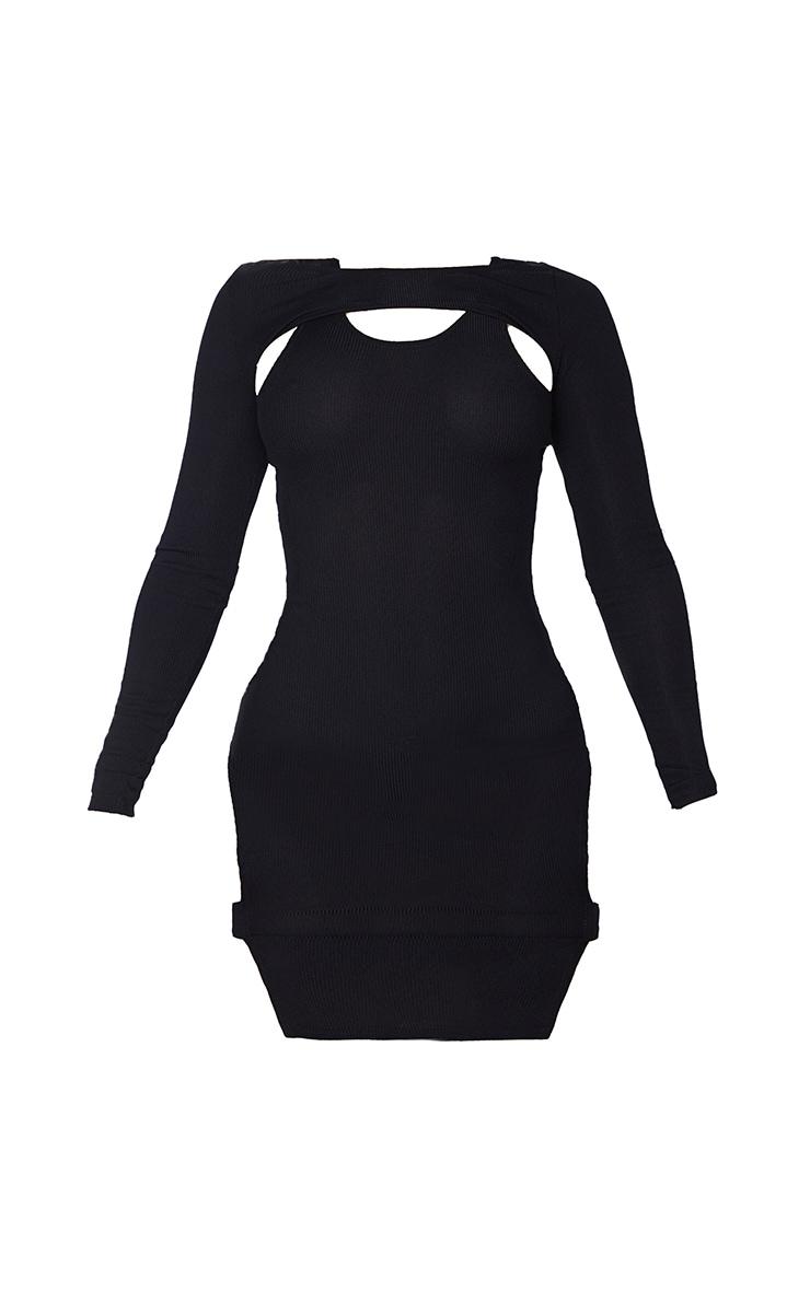 Shape Black Rib Cut Out Long Sleeve Bodycon Dress 5