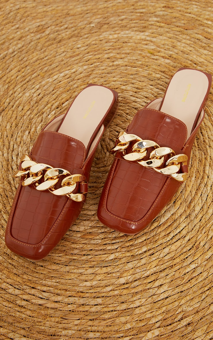 Tan PU Croc Chain Detail Mules 3