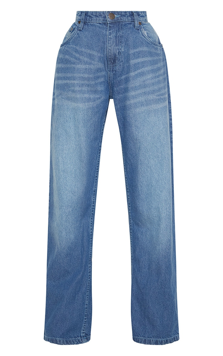 Petite Mid Wash Extreme Wide Leg Jean 3