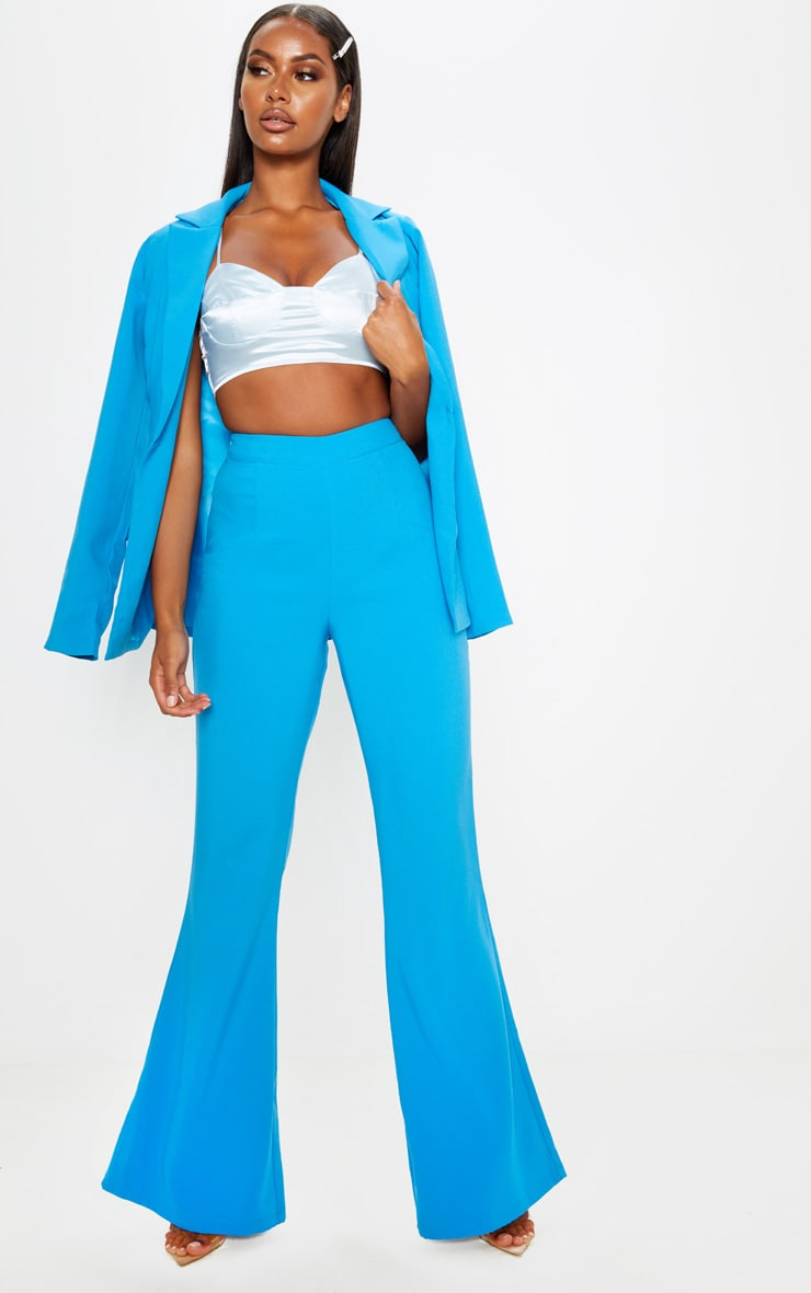 Blue Wide Legged Suit Trouser  1