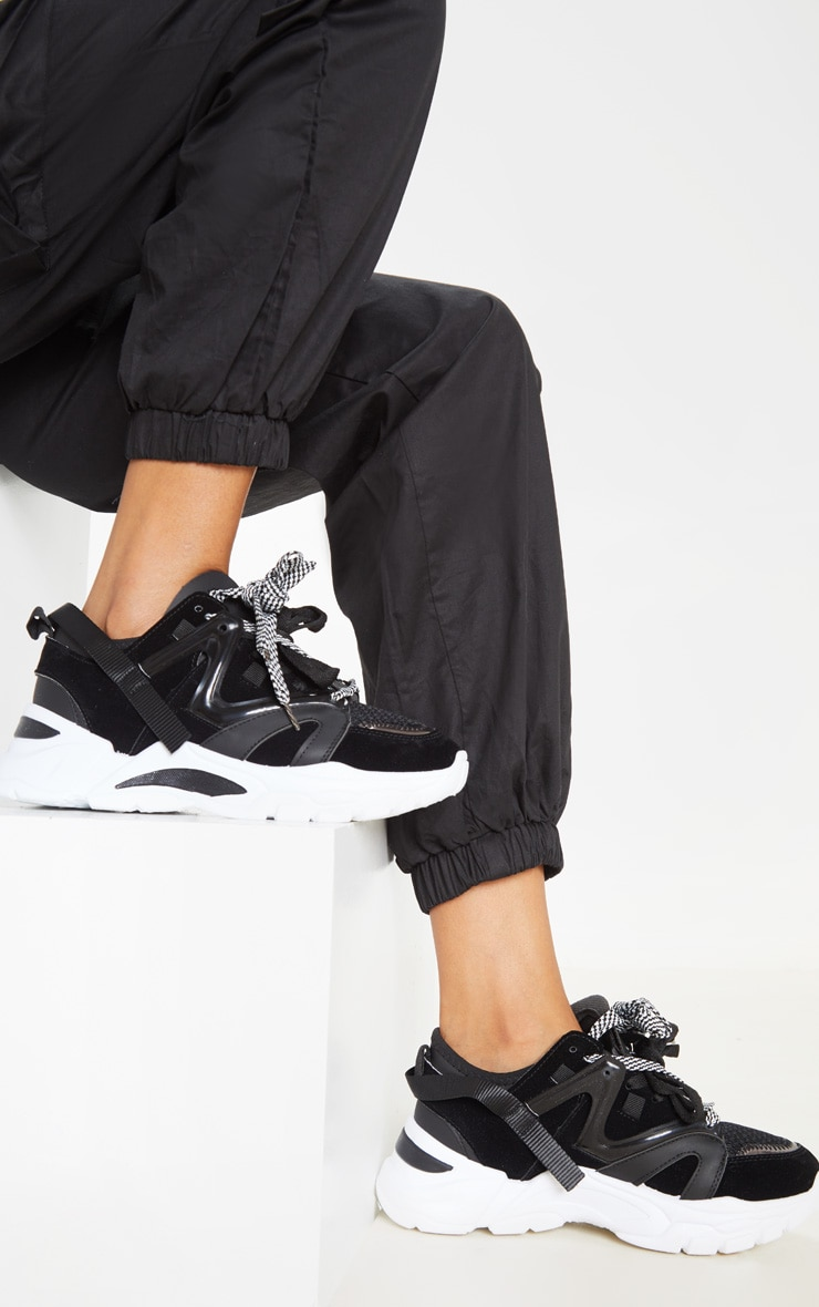 Black Panel Detail Contrast Lace Chunky Sneakers 1