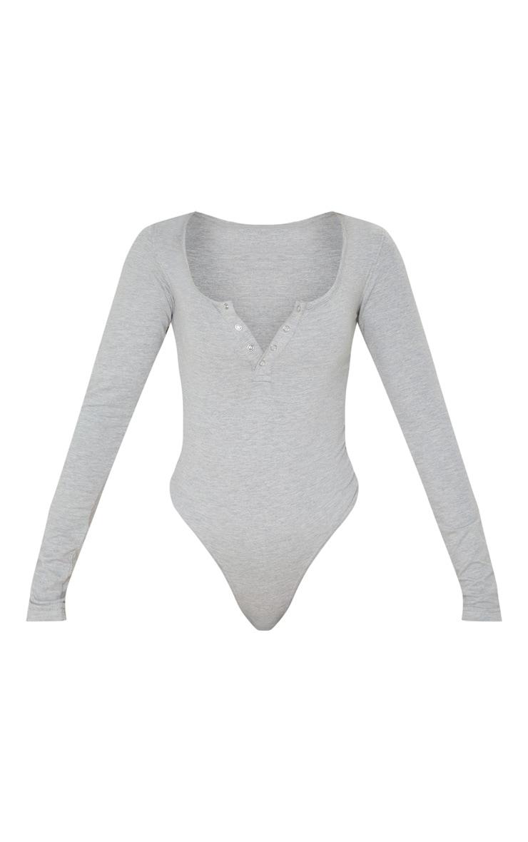 Grey Cotton Popper Scoop Neck Bodysuit 1