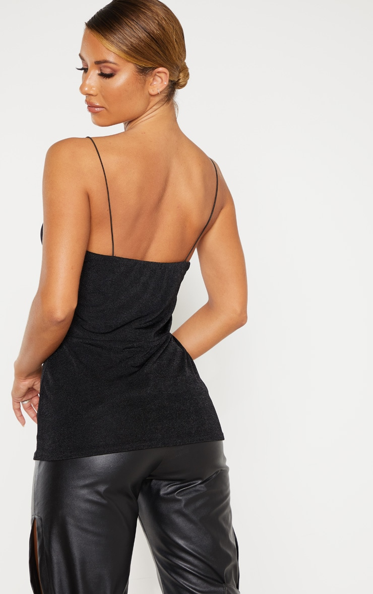 Black Textured Slinky Cup Detail Cami Top 2