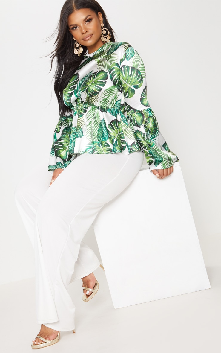 Plus Green Palm Print Satin Tie Detail Frill Blouse 4
